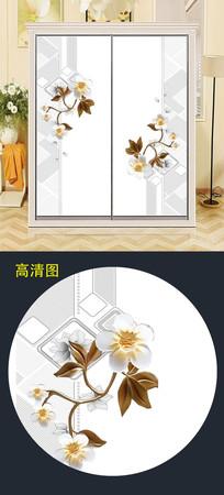 高端精美花朵衣柜移门图案