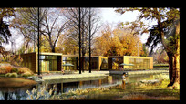 河边别墅住宅景观效果图