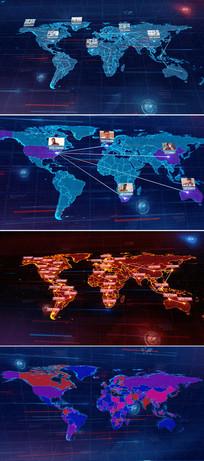 可编辑修改世界地图连线ae模板 aep