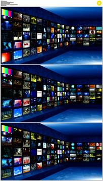 蓝色多屏演播室背景视频素材