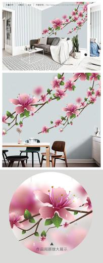 立体唯美樱桃花高清矢量电视背景墙