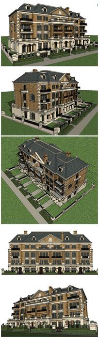 美国乔治亚风格多层建筑SU模型 skp