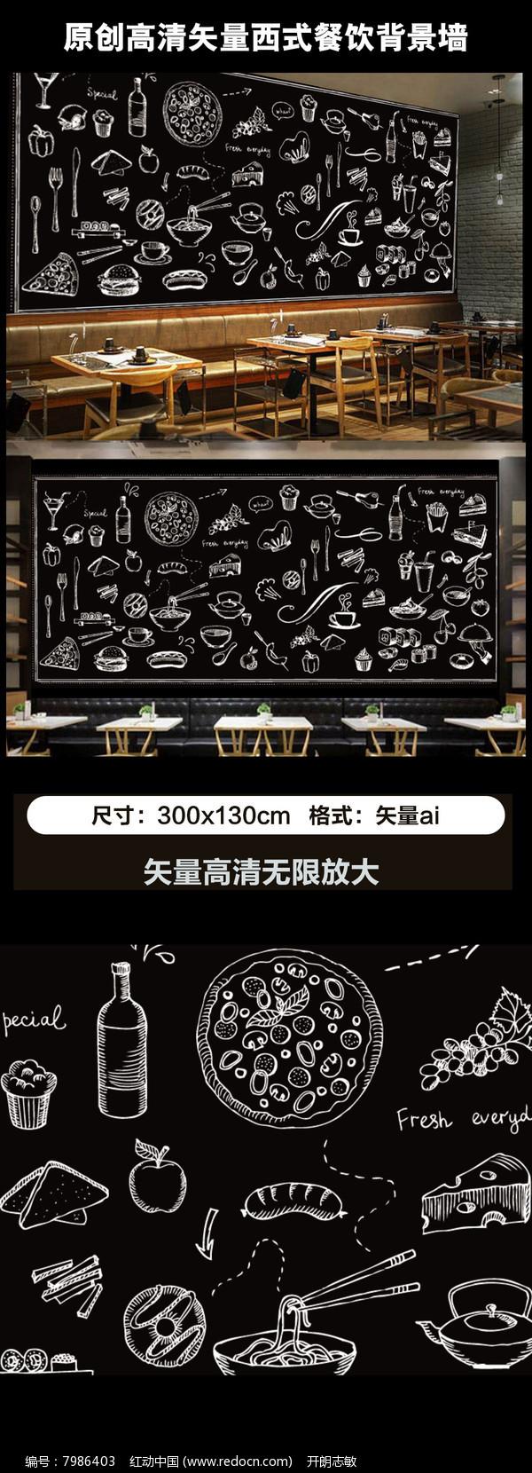 欧美手绘黑板美食咖啡店背景墙图片图片
