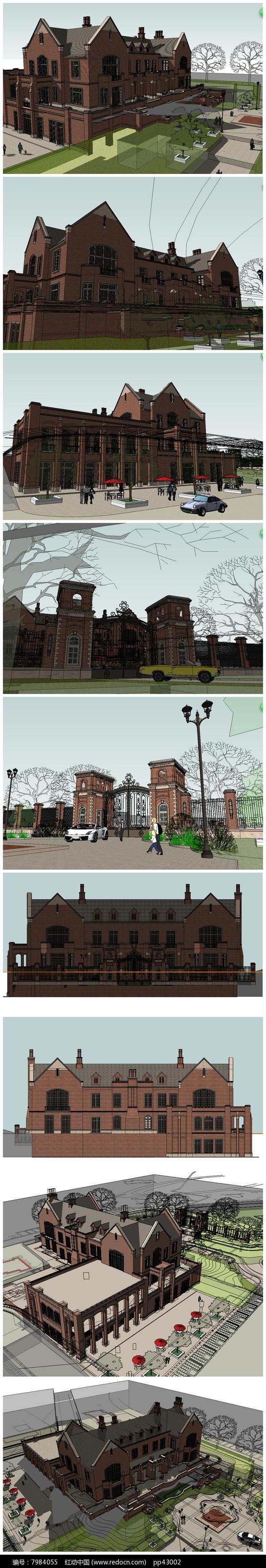 欧式会所建筑SU模型图片