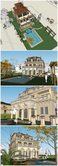三层欧式别墅SU模型