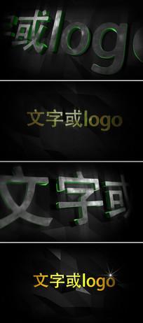 三维立体金属质感霓虹灯logo标志演绎ae模板