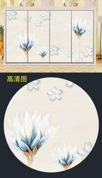 手绘花朵衣柜移门图案