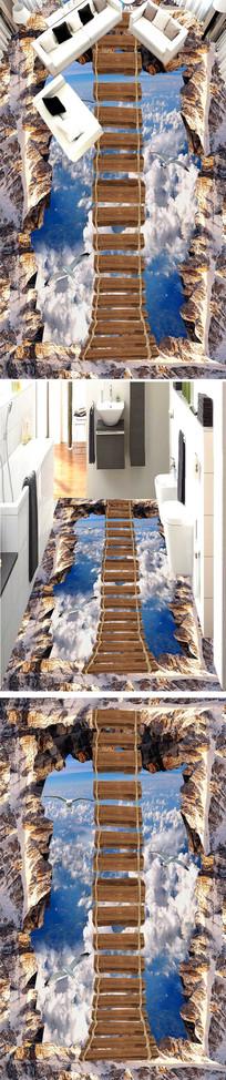 天空上木桥3D户外地板地画
