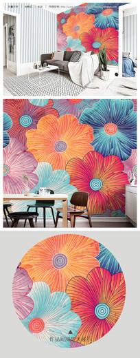 唯美多彩线条花卉客厅睡房电视背景墙