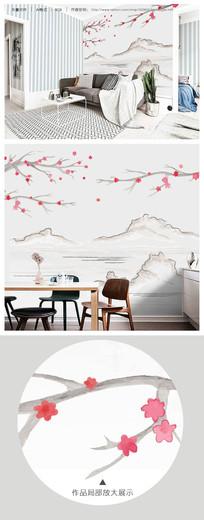唯美桃花山水水墨画客厅睡房电视背景墙