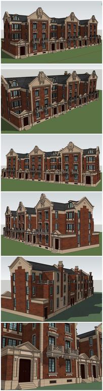 英式别墅联排SU模型