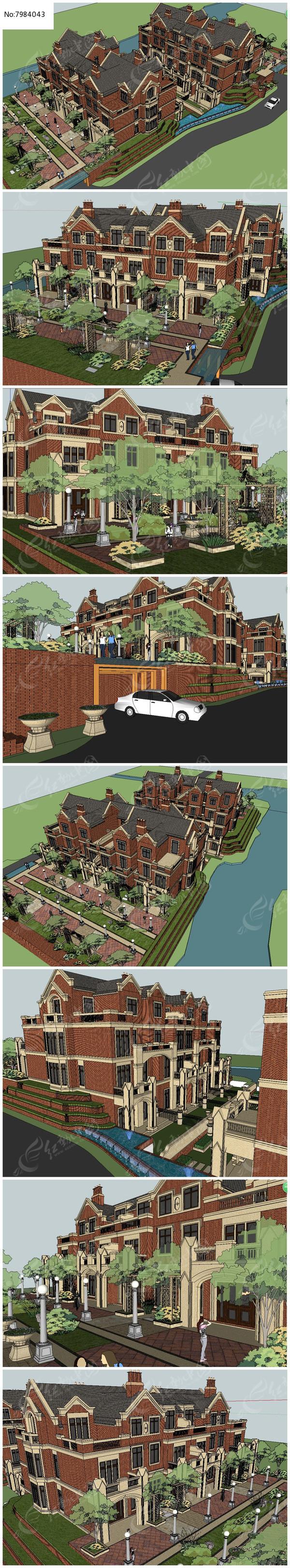 英式别墅小区的两个典型户型SU模型图片