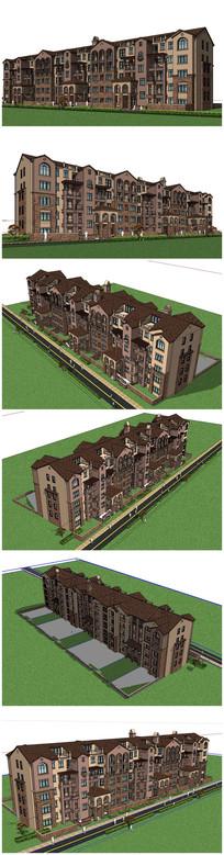 英式多层建筑SU模型