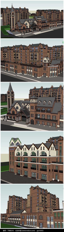 英式多层建筑风格住宅小区SU模型图片