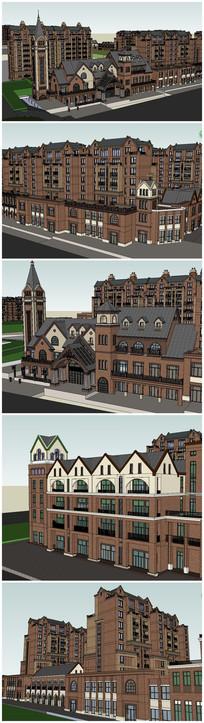 英式多层建筑风格住宅小区SU模型