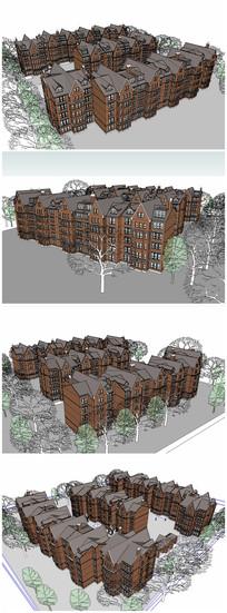 英式多层住宅楼SU模型
