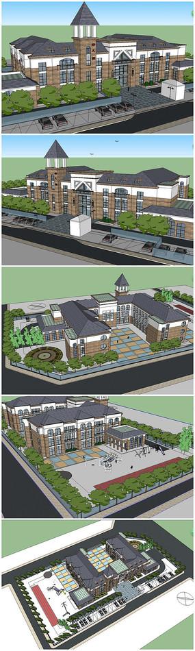英式建筑风格幼儿园su模型规划设计图片