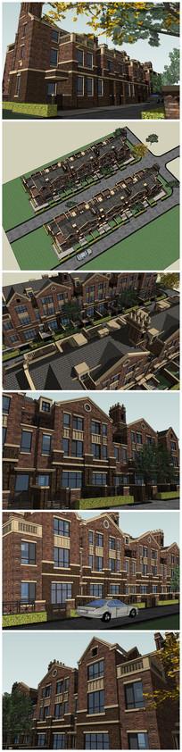 英式联排别墅小区SU模型
