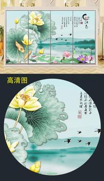 中国风荷花衣柜移门图案