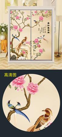中国风衣柜移门图案