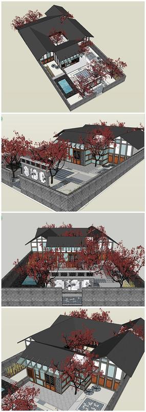 中式仿古庭院SU模型