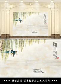 中式山水情客厅电视背景墙