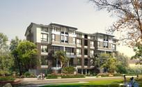 住宅区多层建筑景观效果图