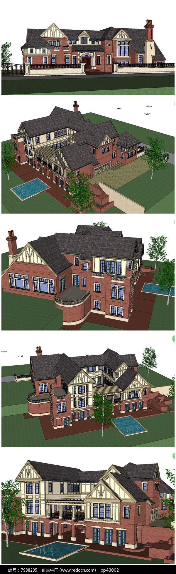 最新超精细 奢华欧式别墅SU模型图片