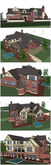 最新超精细 奢华欧式别墅SU模型