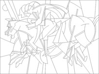 抽象骑士图雕刻图案
