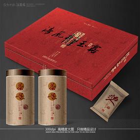 红色茶叶包装设计展开图 PSD
