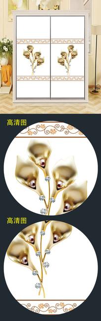 花朵立体珠宝衣柜移门简约图案