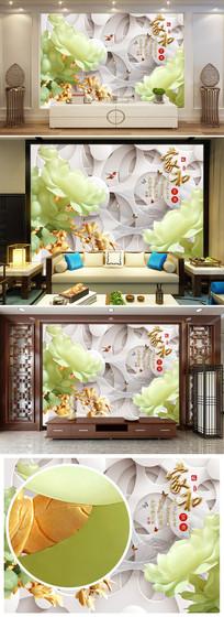 家和富贵3D立体浮雕花朵电视背景墙图片