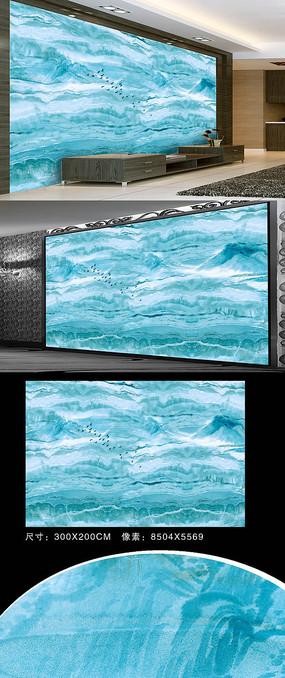 蓝色大理石山水画