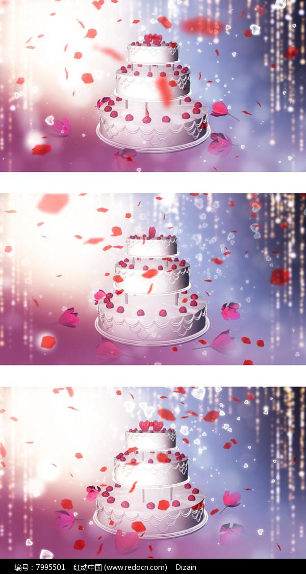 情人节婚礼现场爱情蛋糕花瓣飘落背景图片