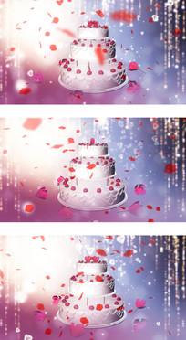 情人节婚礼现场爱情蛋糕花瓣飘落背景