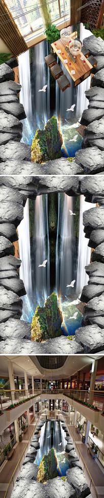 悬崖流水瀑布地画