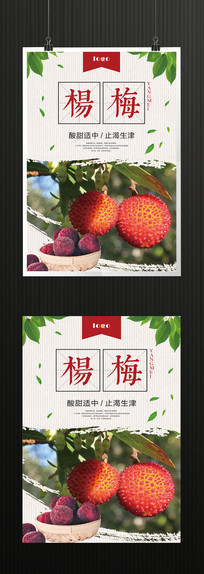 杨梅水果海报模板