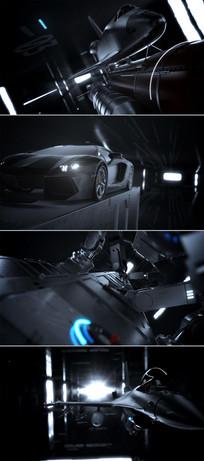 黑色高科技钢铁机械宇宙飞船CG视频