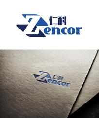 蓝色商务仁科logo