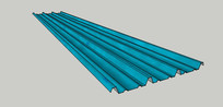 蓝色铁皮彩瓦SU模型 skp