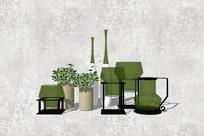 绿色植物花盆摆件