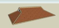 歇山式屋顶SU模型典型屋顶 skp