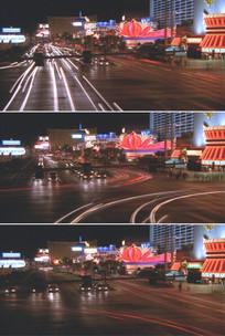 城市夜景莲花灯霓虹灯汽车灯光实拍视频