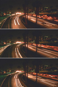 城市夜景立交桥堵车环岛汽车灯拖尾视频