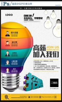 灯泡创业招聘海报设计