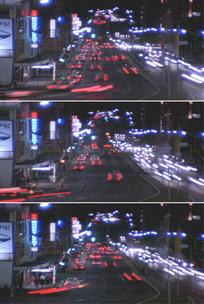繁华城市夜色红灯区夜景汽车穿行视频