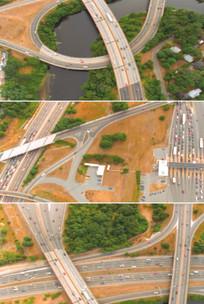 高速公路交通路网车流航拍鸟瞰实拍视频