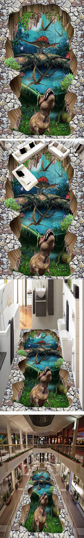 恐龙3D立体地画