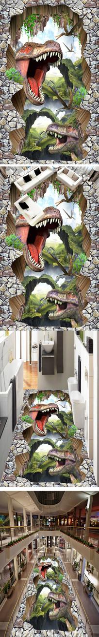 恐龙户外立体3D地画地贴